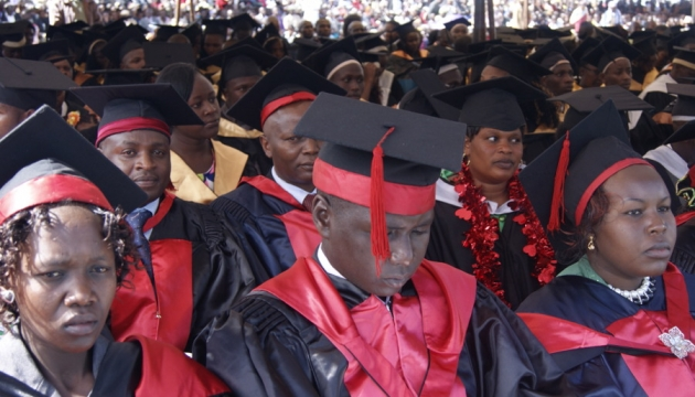 Graduands keenly following the proceedings in 2014 graduation ceremony